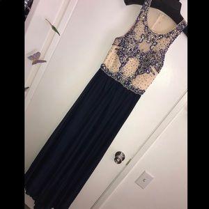Navy maxi prom dress